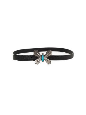 Turquoise Butterfly Leather Belt by Valentino Garavani - Le Dressing Monaco