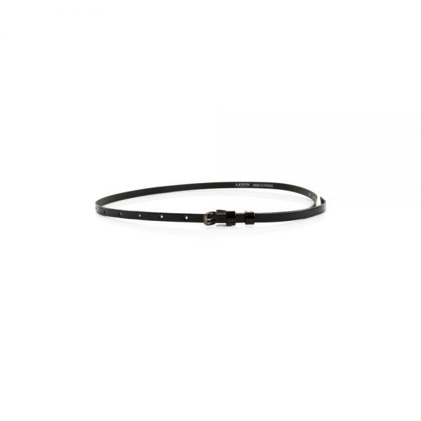 Black Thin Patent Leather Belt by Lanvin - Le Dressing Monaco