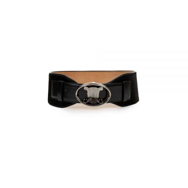 Black Leather Corset Belt by Céline - Le Dressing Monaco