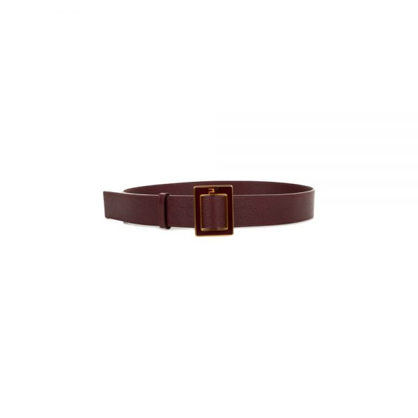 Burgundy And Gold Leather Belt by Fendi - Le Dressing Monaco