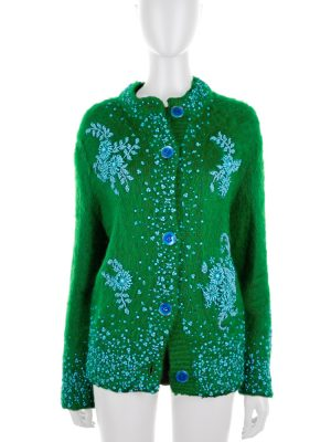 Green Bead Embellished Mohair Cardigan by Prada - Le Dressing Monaco