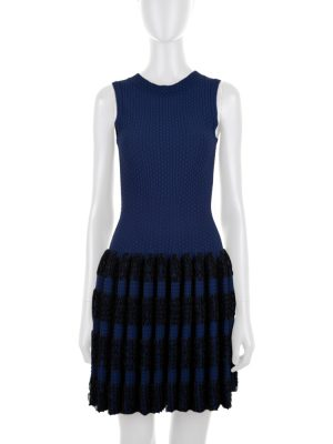 Blue and Black Sleeveless Dress by Alaia - Le Dressing Monaco