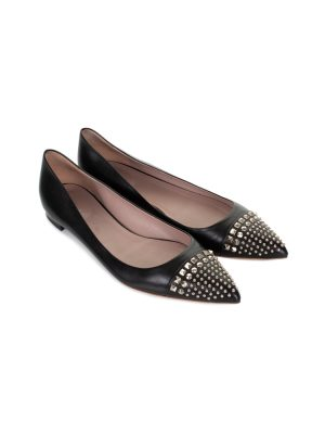fd7af766456e ... Black Studded Point Toe Ballet Flats by Gucci - Le Dressing Monaco