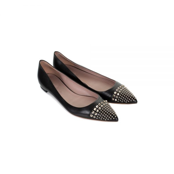 Black Studded Point Toe Ballet Flats by Gucci - Le Dressing Monaco