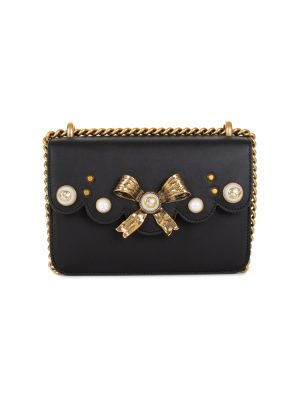 Metal Ribbon Pearls Leather Flap Bag + Belt by Gucci - Le Dressing Monaco