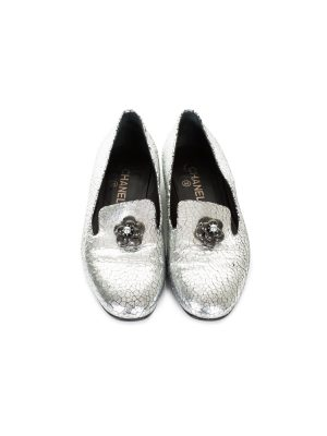 Silver Metallic Cracked Leather Loafers by Chanel - Le Dressing Monaco