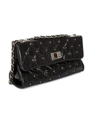 Studded Black Shiny Leather Flap Bag by Chanel - Le Dressing Monaco