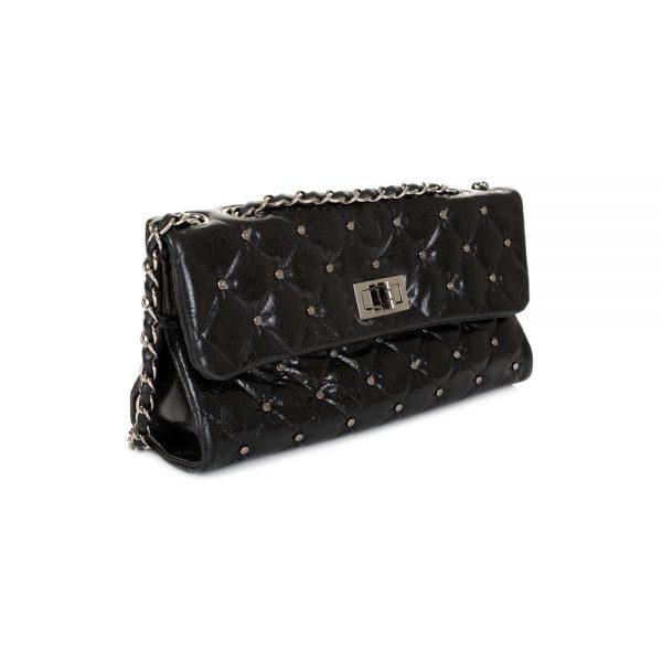 Studded Black Shiny Leather Flap Bag by Chanel - Le Dressing Monaco