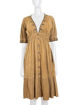 Vintage Suede Dress With Embroideries by Yves Saint Laurent - Le Dressing Monaco