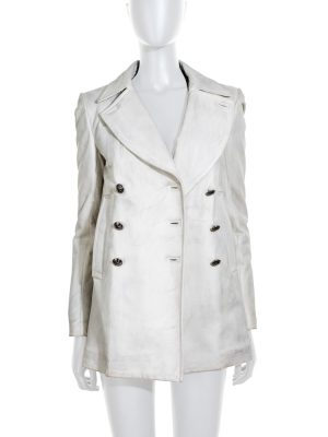 Dirty Effect White Leather Jacket by Balmain - Le Dressing Monaco