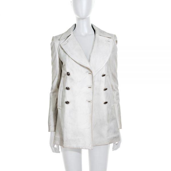 Dirty Effect White Leather Jacket by Balmain - Le Dressing Monaco