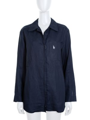 Vintage Dark Blue Linnen Zipped Shirt by Hermès - Le Dressing Monaco