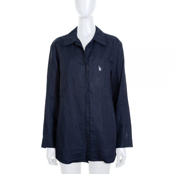 Vintage Dark Blue Linnen Zipped Shirt by Hermès - Le Dressing Monaco