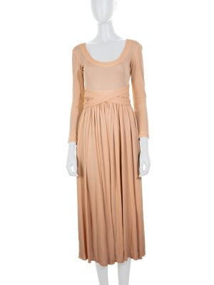 Nude Jersey Dress Crossed Back by Céline - Le Dressing Monaco