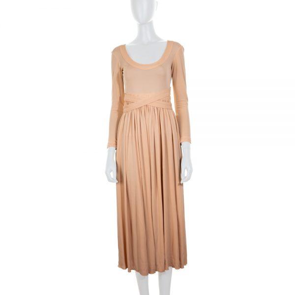 Nude Jersey Dress Crossed Back by Céline - Le Dressing Monaco