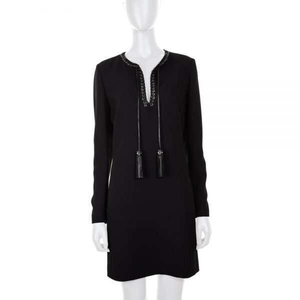 Black Mini Dress Leather Details by Barbara Bui - Le Dressing Monaco