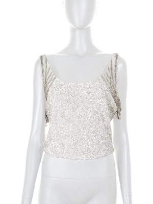 White Beaded Crop Top by Valentino - Le Dressing Monaco