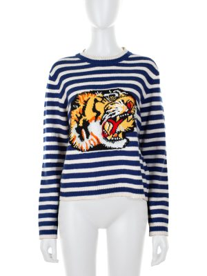 Striped Knitted Jumper Embroidered Tiger by Gucci - Le Dressing Monaco