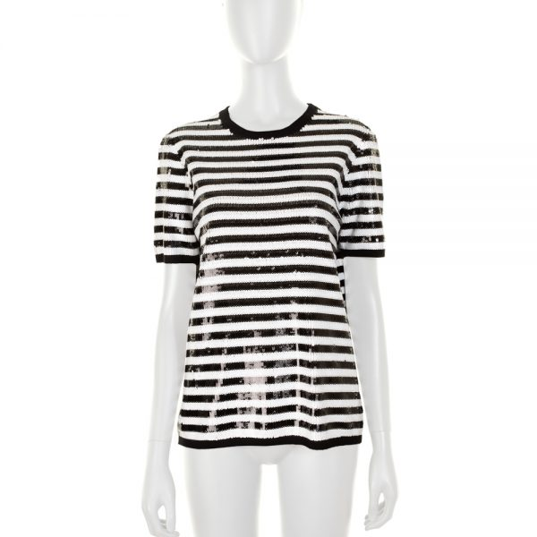 Striped Embroidered Sequin Top by Mickael Kors - Le Dressing Monaco