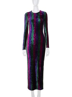 Long Tight Striped Velvet Dress by Gianni Versace Couture - Le Dressing Monaco