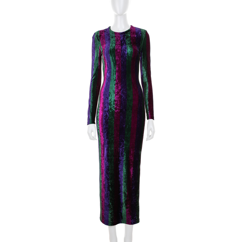 18af6748fc60 Long Tight Striped Velvet Dress by Gianni Versace Couture - Le Dressing  Monaco