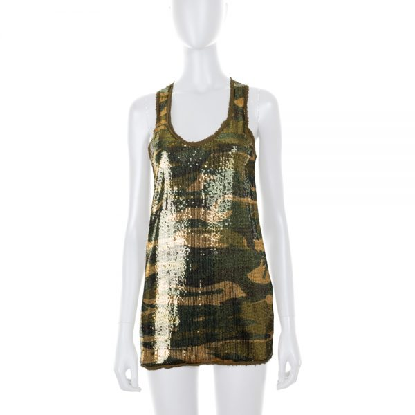Tank Top Camouflage Sequins by Roberto Cavalli - Le Dressing Monaco