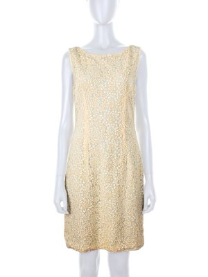 Light Yellow Embroidered Cocktail Dress by Prada - Le Dressing Monaco