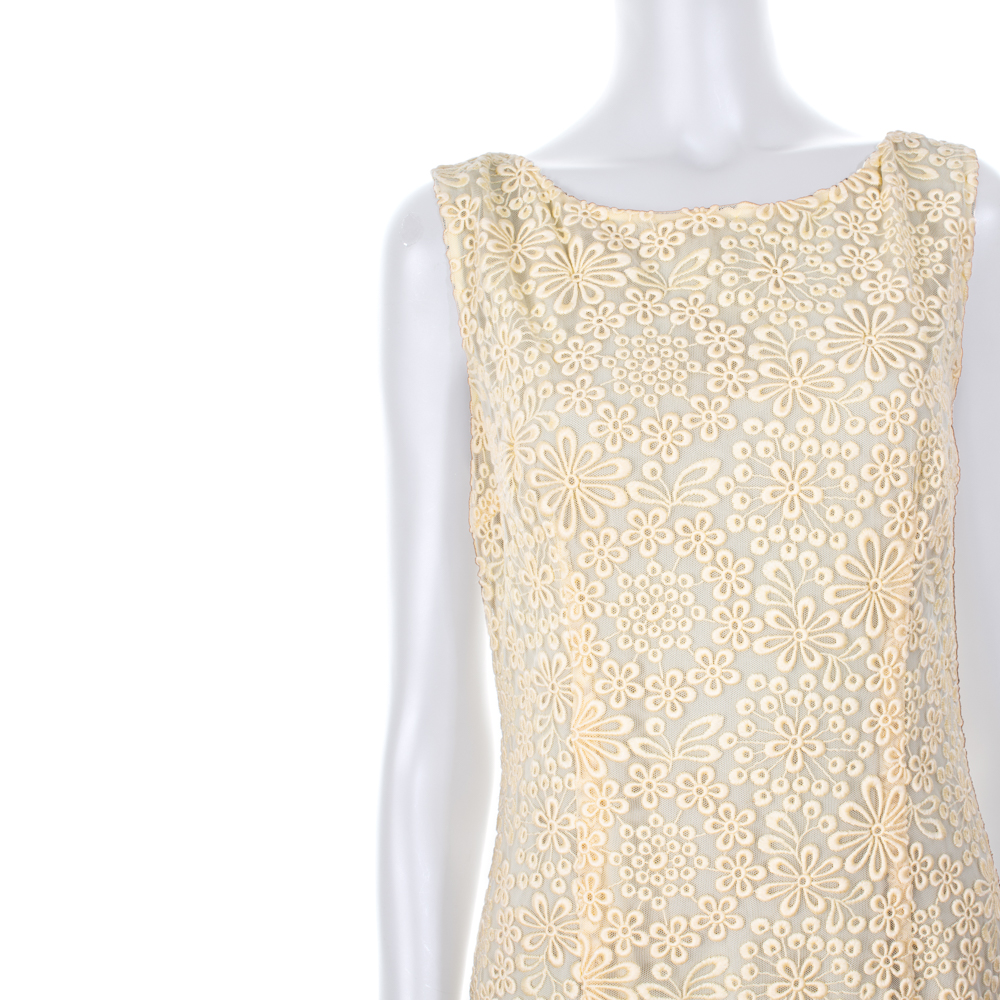 299a5e343d Light Yellow Embroidered Cocktail Dress by Prada - Le Dressing Monaco