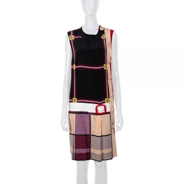 Silk Vintage Style Pleated Dress Big Buttons by Prada - Le Dressing Monaco