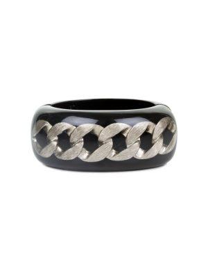 Black Plexi Bracelet Silver Chain by Chanel - Le Dressing Monaco