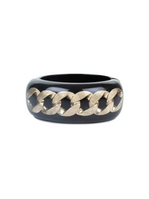Black Plexi Bracelet Bronze Chain by Chanel - Le Dressing Monaco