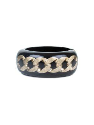Black Plexi Bracelet Bronze Chain by Chanel - Le Dressing Monaco