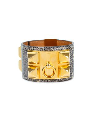 Grey Lizard Collier De Chien Manchette by Hermès - Le Dressing Monaco