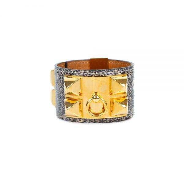 Grey Lizard Collier De Chien Manchette by Hermès - Le Dressing Monaco