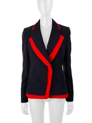 Navy Blazer With Red Border by Alexander McQueen - Le Dressing Monaco