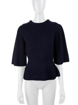 Navy Knitted Peplum Top by Chanel - Le Dressing Monaco