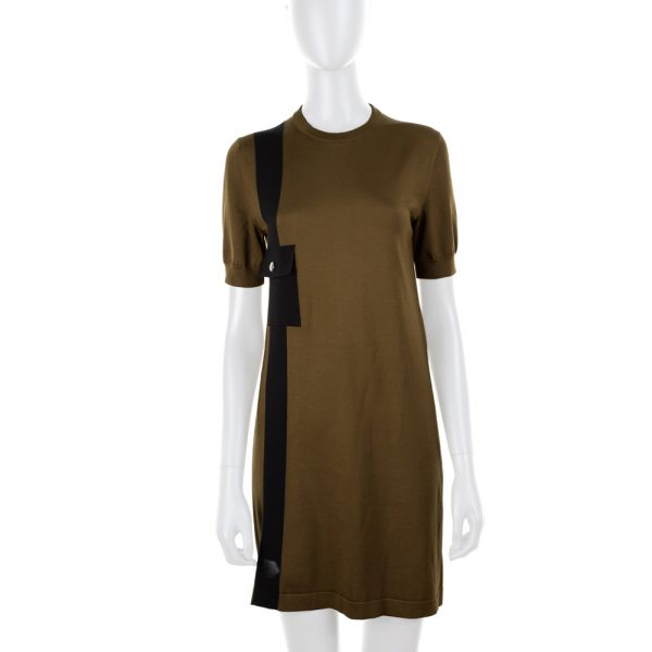 Khaki Knitted Short Sleeved Dress by Louis Vuiton - Le Dressing Monaco