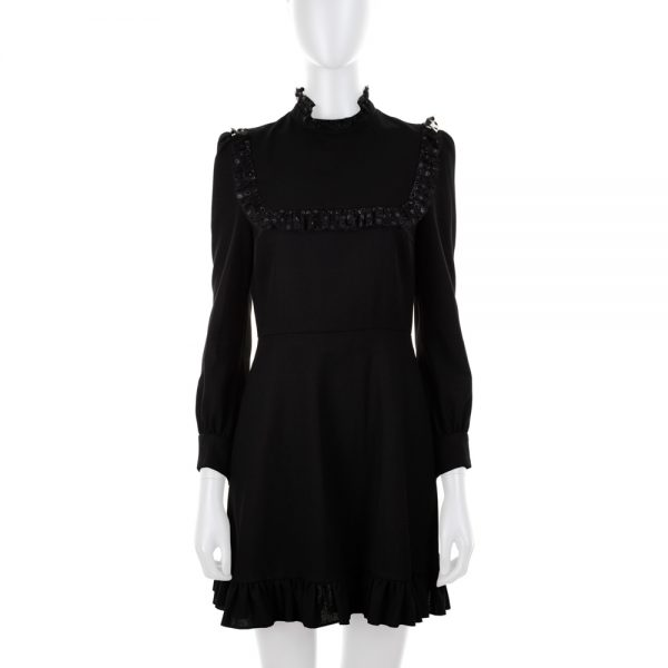 Black Long Sleeved Dress Tulle Details by Saint Laurent - Le Dressing Monaco