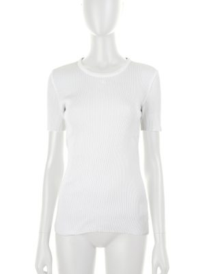 White Cotton T-Shirt Embroidered CC Logo by Chanel - Le Dressing Monaco