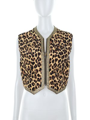 Leopard Waistcoat Gold Lurex Border by Gianni Versace - Le Dressing Monaco