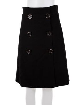 Six Buttoned Black Wool Skirt by Gucci - Le Dressing Monaco