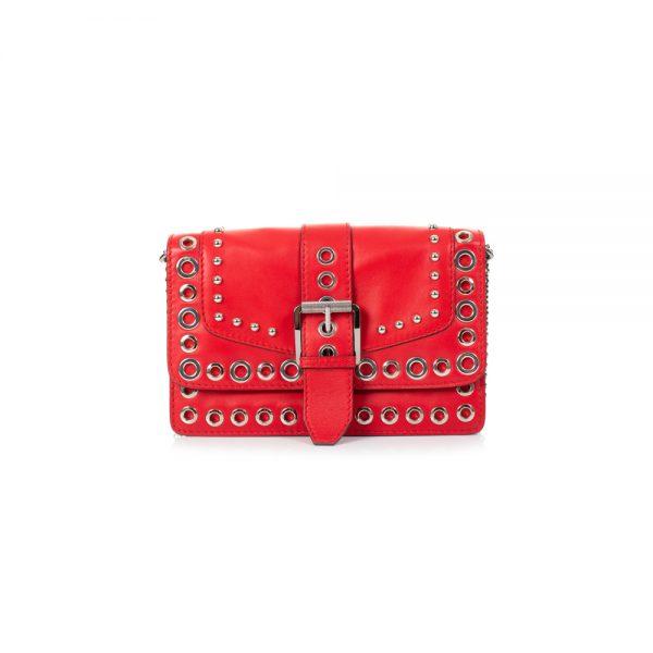 Red Leather Flapbag Metal Rings by Barbara Bui - Le Dressing Monaco