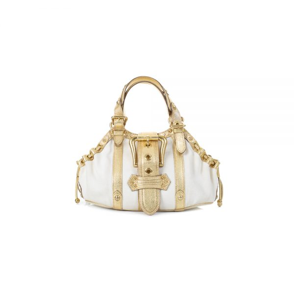 Canvas And Gold Leather Buckle Handbag by ouis Vuitton - Le Dressing Monaco