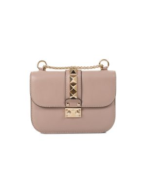 Taupe Rockstuds Crossbody Flapbag by Valentino - Le Dressing Monaco