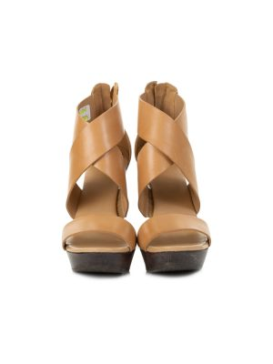 Leather And Wood Wedges by Diane Von Furstenberg - Le Dressing Monaco