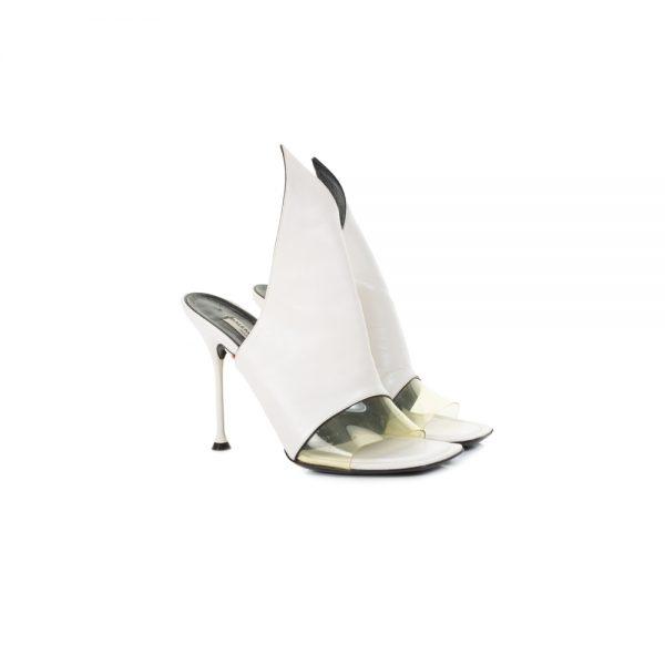 White Slip In High Heel Sandals by Balenciaga - Le Dressing Monaco