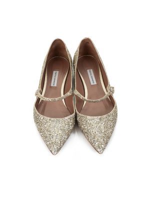 Gold Glitter Strapped Pointy Flats by Tabitha Simmons - Le Dressing Monaco