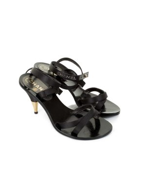 Strapped Sandals With Gold Heel by Chanel - Le Dressing Monaco