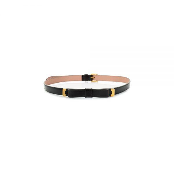 Black Leather Bow Belt by Prada - Le Dressing Monaco