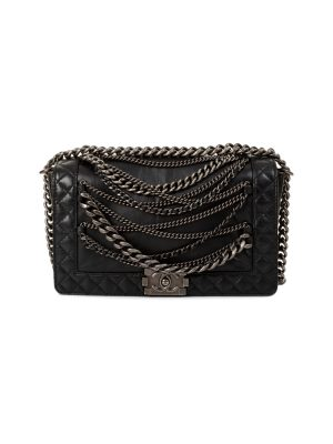 Chains Black Leather Medium Boy Bag by Chanel - Le Dressing Monaco